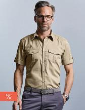 Men`s Roll Short Sleeve Fitted Twill Shirt